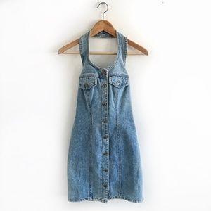 Vintage Light Wash Overall Mini Dress Size XS